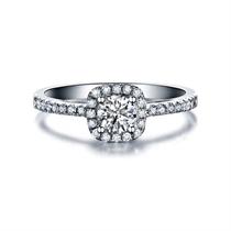 【幸福圆点】 白18k金花臂群镶钻石戒指女士款