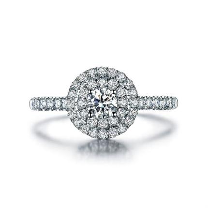 【星空】 白18k金豪华群镶求婚订婚结婚钻戒