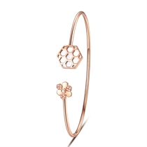 【巢】系列 玫瑰18K金钻石时尚女款手镯