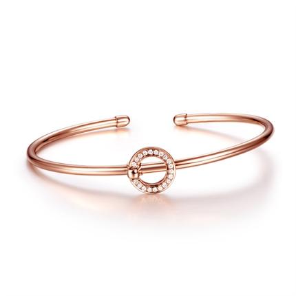 【几何】 玫瑰18K金红宝石钻石手镯手链