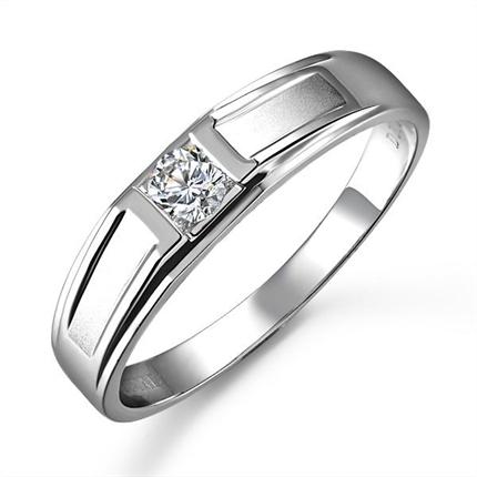 【恋恋一生】 白18K金钻石戒指(男女同款)