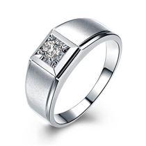 【俊逸】 白18k金16分/0.16克拉钻石男士戒指
