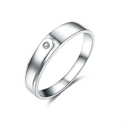 【爱唯伊】 白18k金1分/0.01克拉钻石男士戒指