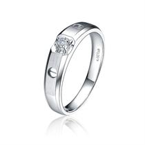 【贴心】 白18k金6分/0.06克拉钻石男士戒指
