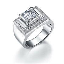 【至尊】 白18k金钻石男士戒指