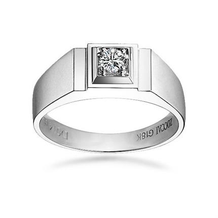 【魅力绅士】 白18k金14分/0.14克拉钻石男士戒指