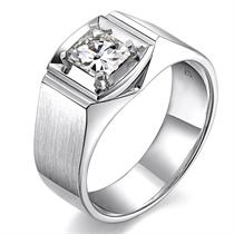 白18k金 钻石男士戒指【俊朗】