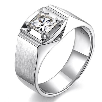 【俊朗】 白18k金102分/1.02克拉钻石男士戒指 净度 VVS