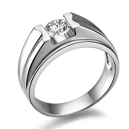 【风雅】 白18k金钻石男士戒指