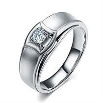 【爱的轨迹】 白18k金22分/0.22克拉 钻石男士戒指