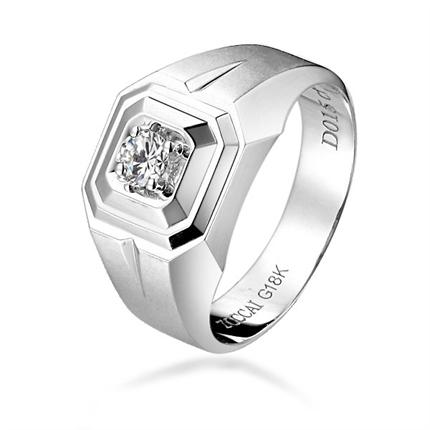 【英姿】 白18k金钻石男士戒指