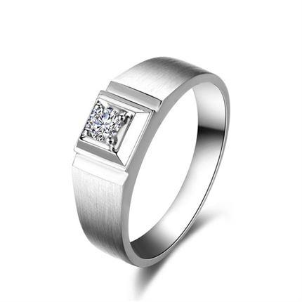 【梦幻星语】 白18k金钻石男士戒指