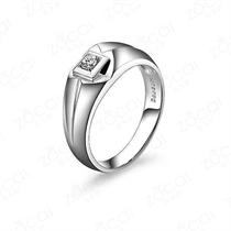 【守护】 白18k金8分/0.08克拉钻石男士戒指