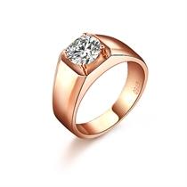 【唯美骑士】 18K 彩金钻戒钻石戒指100分男士戒指 净度 SI