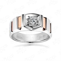 18K双色彩金钻石戒指男戒 【爱的轨迹】