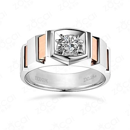 【爱的轨迹】 18K双色彩金钻石戒指男戒