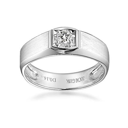 【钟爱一生】 白18k金钻石男士戒指