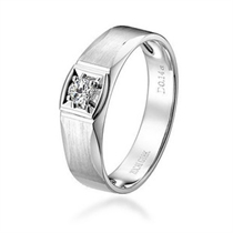 【闪动 】 白18k金钻石男士戒指