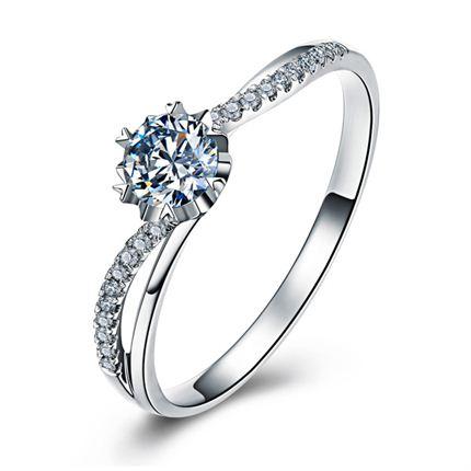 【心涟】 白18K金 钻石女士戒指