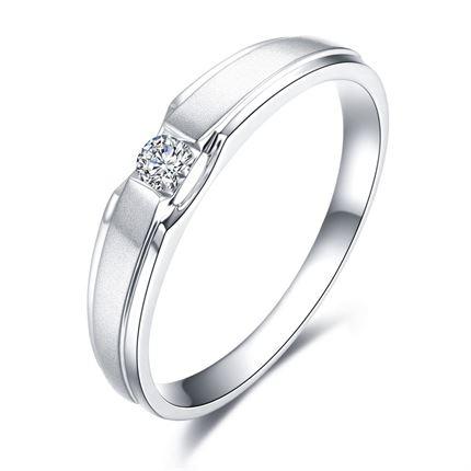 【命中注定】 PT950铂金8分/0.08克拉钻石男士戒指