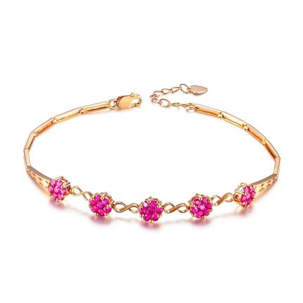 【红色心情】 1.40克拉玫瑰金天然红宝石手链