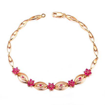 【知心】 玫瑰18K金0.79克拉深红宝石女士手链