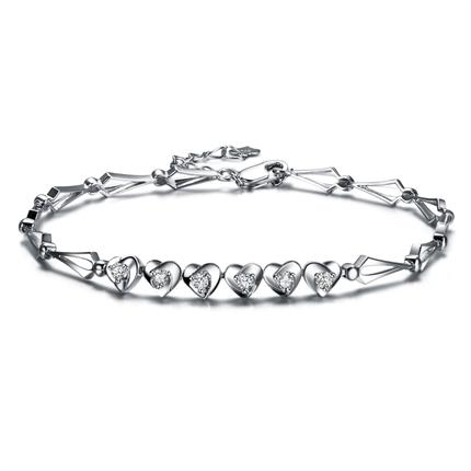 【金心 】 白18k金25分钻石手链