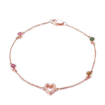 【心】系列 玫瑰18k金钻石女款手链