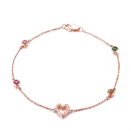【心】系列 玫瑰18k金鉆石女款手鏈