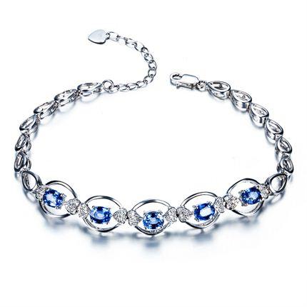 【星蓝】 白18K金2克拉深蓝蓝宝石女士手链