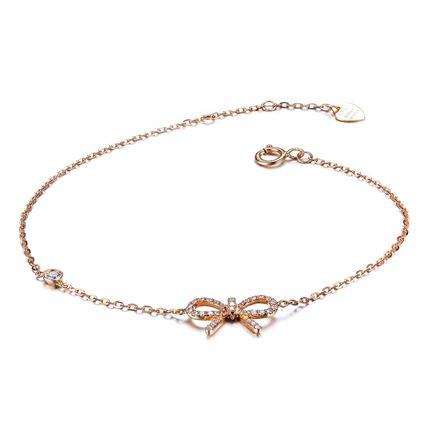 【金蝴蝶】 0.11 克拉玫瑰18k金蝴蝶结钻石手链