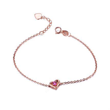 【秘密系列】 玫瑰18k金0.11克拉红宝石心形手链