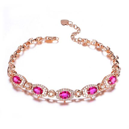 【心仪】 2.6克拉18K玫瑰金红宝石手链