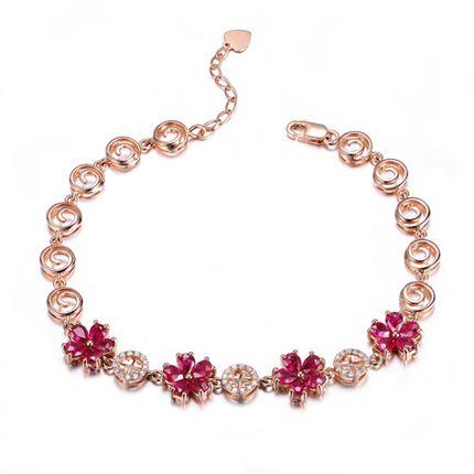 【寻梅】系列套装 玫瑰金4克拉天然红宝石手链镶钻石手链