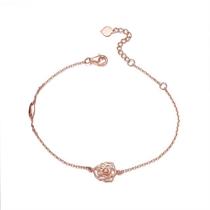 【山茶花】 玫瑰18K金花型钻石时尚手链