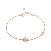 【一生的公主】 18k玫瑰金彩金皇冠钻石手链