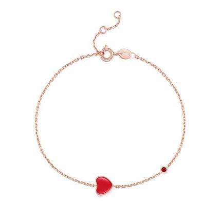 【小红心】 18k玫瑰金珐琅镶嵌钻石宝石手链
