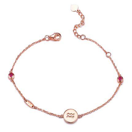 【率性真我之水瓶座】系列 玫瑰18K金红宝石手链