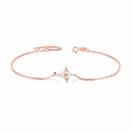 【星月之夜】 玫瑰18K金钻石红宝石手链
