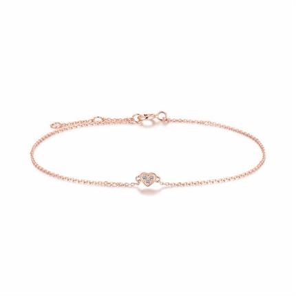 【小心情】 玫瑰18K金時尚心形鉆石手鏈