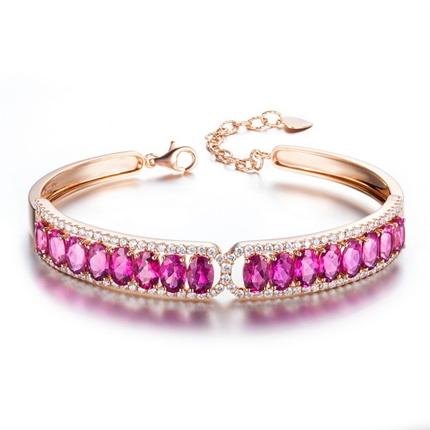 【宠爱】 18K玫瑰金缅甸红宝石手镯手链 新款
