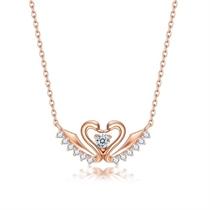 【天鹅之心】 玫瑰18K金钻石吊坠项链  两色可选