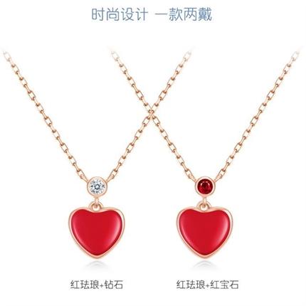 【小红心】 18k玫瑰金珐琅项红宝石彩金镶钻锁骨链