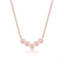 【巢】 玫瑰18K金时尚钻石吊坠项链
