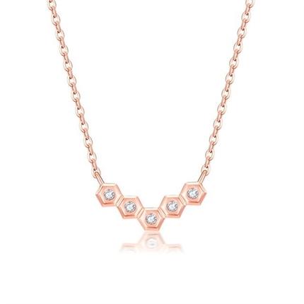 【巢】 玫瑰18K金時尚鉆石吊墜項鏈