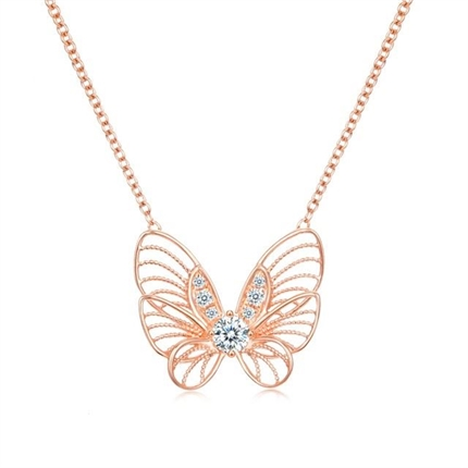 【蝴蝶】 18K鉆石吊墜蝴蝶造型鎖骨鏈 (兩色可選)