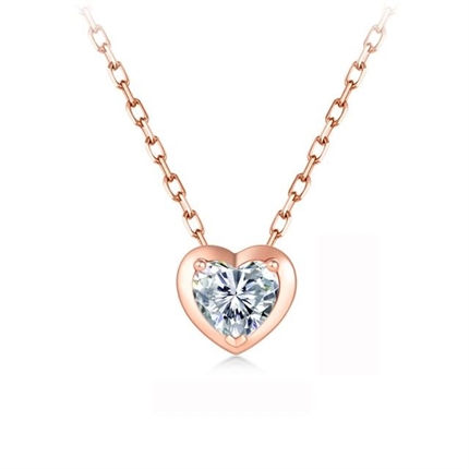 【怦然心动】 18k玫瑰金心形钻石红宝石锁骨链