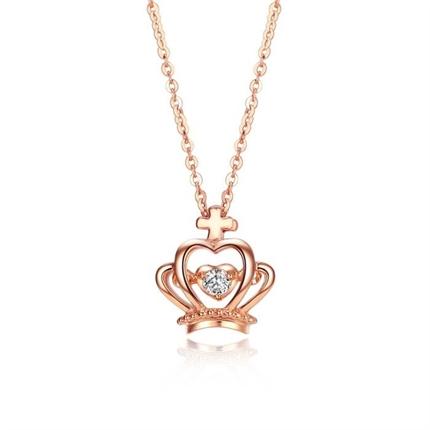 【皇冠】 玫瑰18K金钻石女款吊坠