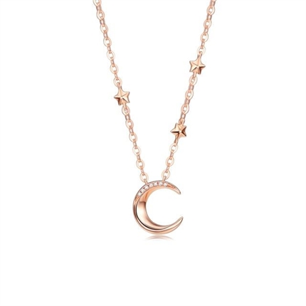【星月之夜】 玫瑰18K金星月形女款钻石吊坠