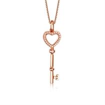 【小心情】 玫瑰18K金时尚钥匙形钻石吊坠